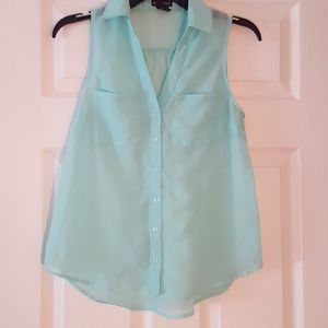 Teal button down